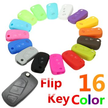 16 Color Silicone 3 Button Remote Flip Key Case Fob Cover Protect Holder For Ford KA