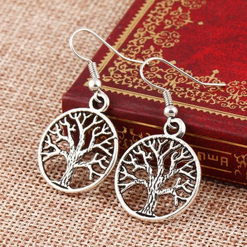 New Fashion Vintage Friendship Peace Tree Hanging Earrings Elegant Charm Hollow Out Dangle Earrings Flower Jewelry For Women = 1958333572