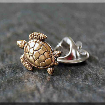 Brass Sea Turtle Tie Tac, Lapel Pin, Turtle Brooch, Gift for Him, Gift Under 10 Dollars, Sea Turtle Tie Tack, Beach Accessory, Unisex Pin