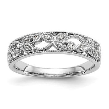 14K White Gold Floral Openwork Diamond Band