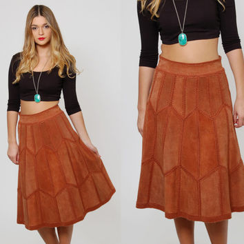 Vintage 70s Leather Skirt PATCHWORK Suede Midi Skirt Knit Leather Hippie Skirt HIGH WAIST Boho Skirt