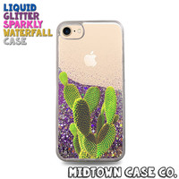 Cactus Leaves Prickly Desert Succulent Fun Cute Liquid Glitter Waterfall Quicksand Sparkles Glitter Bomb Bling Case for iPhone 7 7 Plus 6s 6
