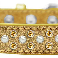 Sprinkles Ice Cream Dog Collar Pearl and Yellow Crystals Size 20 Gold