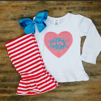 Valentines outfit, girls Valentines outfit , stripe pants, Valentines shirt, valentine appliqué shirt , girls appliqué outfit