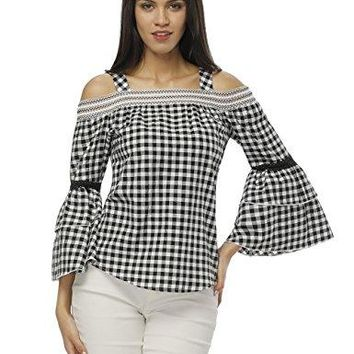 Fancyqube Womens Casual Loose Halter Neck Off Shoulder Long Bell Sleeve Plaid Pullover Blouse Tops
