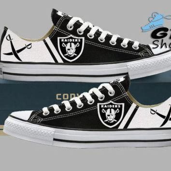 ICIKGQ8 hand painted converse low sneakers oakland raiders raider nation football superbow
