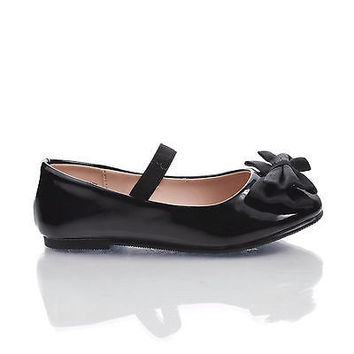 JessieIISQ Black Patent Infant Girl's Mary-Jane Round Toe Ballet Flats w Bow. New Shoes