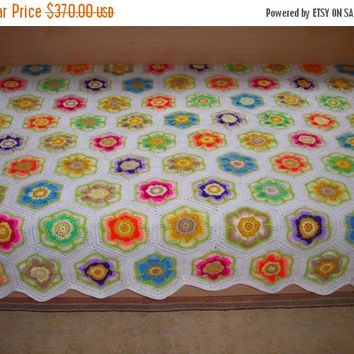 ON SALE - 10% OFF Granny Square Crochet Blanket...Twin Size Crochet Afghan...Flowers Patchwork Afghan....