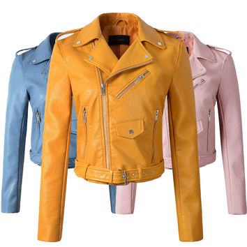 New Arrival 2017 brand Winter Autumn Motorcycle leather jackets yellow leather jacket women leather coat  slim PU jacket Leather