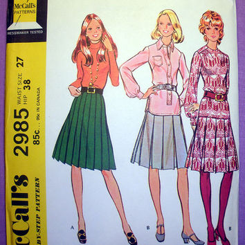 Set of Pleated Skirts, Waist Size 27 inches, Vintage 1970's McCall's 2985 Retro Sewing Pattern Uncut