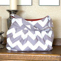 Pleated Purse in Gray Chevron Stripe, Purse, Diaper Bag or Camera Bag
