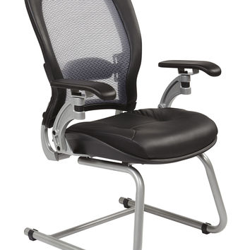 Office Star Professional AirGrid® Back Visitors Chair with Platinum Finish Accents with Cantilever Arms [3685]
