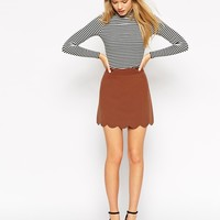 ASOS A-Line Mini Skirt with Scallop Hem at asos.com