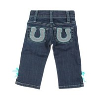 All Around Baby By Wrangler Girl's Medium Wash with Horseshoe Pockets & Turquoise Jean