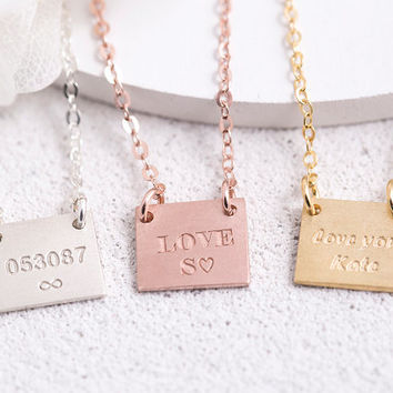 Engraved Square Necklace Personalized Square Necklace Birth Date Name Initial Roman Numeral Bridesmaid Gift for Her Sterling Silver LVMKE5