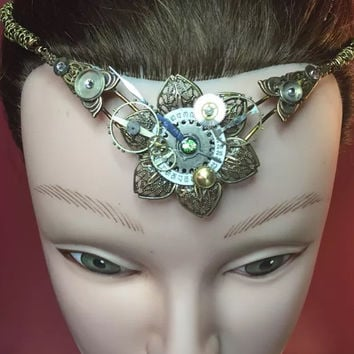 Steampunk elven or fairy crown curclet tiara head piece.