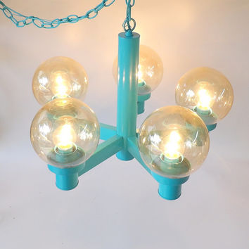 Aqua Globe Lamp Orb Hanging Chandelier Mid Century Modern Lighting Brass Painted Dining Table Light Living Room Lamp Swag Ceiling Light