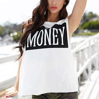 FOREVER 21 Mo' Money Muscle Tee Ivory/Black