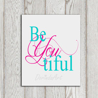 Beyoutiful printable Nursery wall art decor Little girl bedroom print Gray turquoise Pink nursery print Baby girl decor Baby shower Download