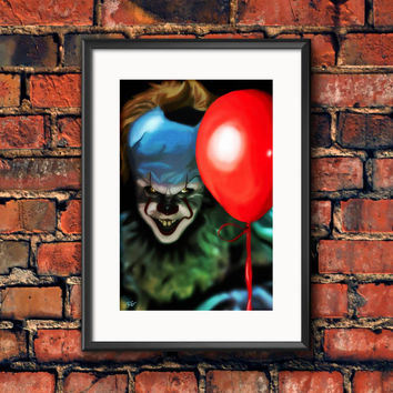 Bill Skarsgård It Scary Clown Stephen King Horror Movie Art Print