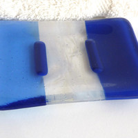 Fused Glass Soap Dish in Dark Cobalt and Sky Blue