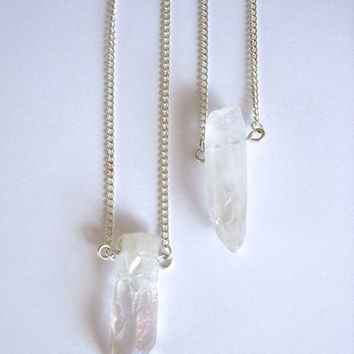 Long Layering Necklace Quartz Crystal Natural Point Pendant on a Silver Plated Chain, 24 or 30 inches, Yoga, Healing, Crystal Point, Healing