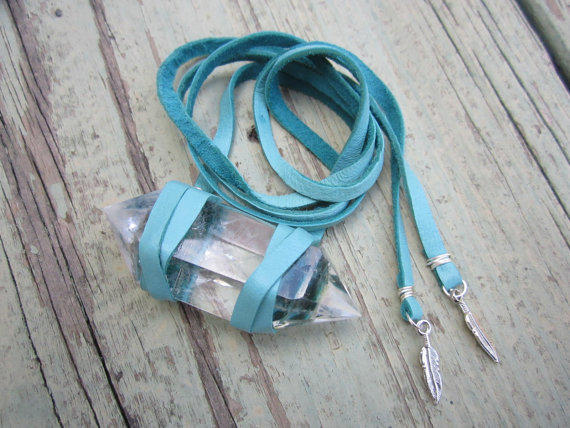 Huge Quartz Crystal & Turquoise Leather Wrap Bracelet w/ Feather Charms - Bohemian Gypset Festival Beachy
