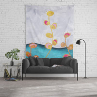 Flowers Gold and Pink Wall Tapestry by vivigonzalezart