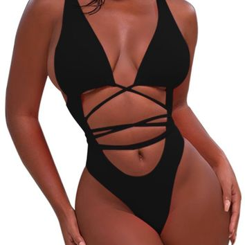 Women Sexy High Cut Out Bikini One Piece Swimsuits Thong Monokini
