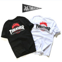 """THRASHER"" print Flame Men and women lovers round neck T-shirt"
