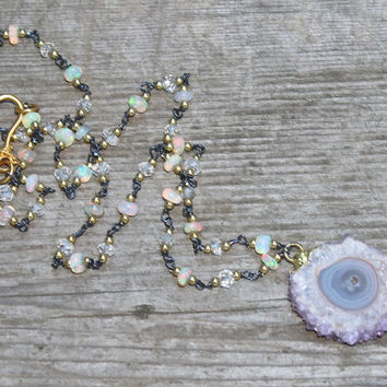 Natural Stalactite Necklace Opal Necklace As Gifted to A Celebrity Style Stalactite Jewelry Opal Jewelry Celebrity Jewelry