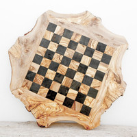 Father's Day Gift, Rustic Olive Wood Chess Board, Custom Engraved Monogrammed Wooden Chess Set Game, Dad gift