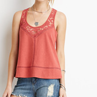 Embroidered Mesh-Paneled Tank