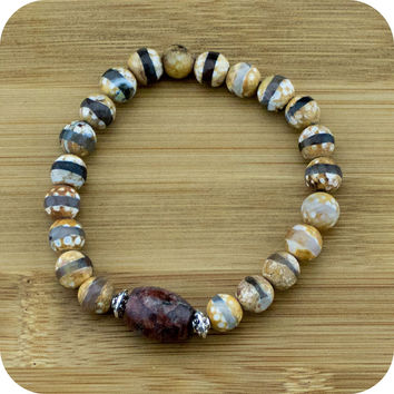 Faceted Brown & White Dzi Fire Agate Yoga Jewelry Bracelet with Granite