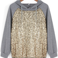 Grey Hooded Long Sleeve Sequined Loose Sweatshirt