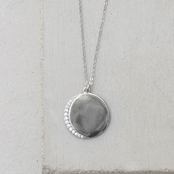 Customizable Crescent Moon Necklace - Silver