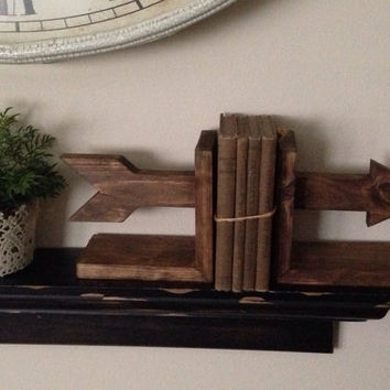 Arrow Bookends, Wooden Bookends, Nursery Decor, Rustic Bookends