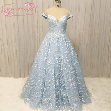 SuperKimJo Off the Shoulder Prom Dresses 2018 A Line Lace Blue Beaded Prom Gown Formal Dresses Vestidos De Festa