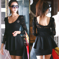 Long Sleeve See-through Lace Dress