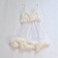 80s ANGEL Sheer Feather Nightie Sex Kitten Babydoll Slip WHITE Negligee Mini Small Xs M See Through lingerie Short Sexy Maribou HONEYMOON