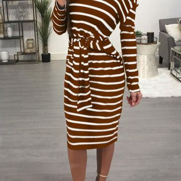 Coffee Striped Asymmetric Shoulder One Off Shoulder Lace-Up Bodycon Casual Midi Dress