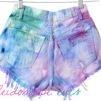 Vintage Levis 501 High Waist Colorful  MARBLED Dyed Denim Cut Off Shorts XS