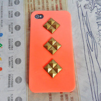 iPhone hard Case Cover with bronze pyramid stud for Apple iPhone 4,4S ,iPhone 4 Case, iPhone 4S Case, iPhone 4 GS Hard Case -061