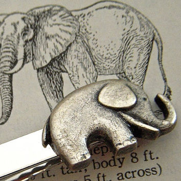 Elephant Tie Clip Jungle Animal Silver Tone Plated Vintage Inspired Men's Gifts Accessories Victorian Steampunk Style