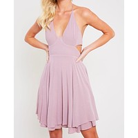 the one that I want open back halter neck flare dress with pockets in mauve