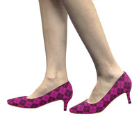 ARGYLE-PINK Women's Pointed Toe Low Heel Pumps (Model 053) | ID: D2168950