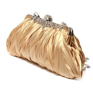 DCCKHG7 Fashion Lady Party Wedding Handbag Purse Girl Soft Evening Bag Bridal Women Satin Crystal Clutch