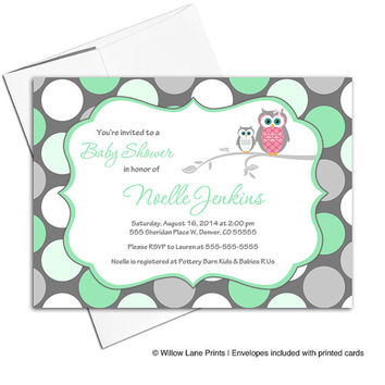 Gender neutral baby shower invitation owls | printable baby shower invite in mint green and gray with polkadots - WLP00731