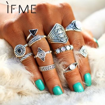 IF ME New 10pcs/Set Vintage Punk Ring Set Antique Silver Color Leaf midi Rings Women Boho Beach Jewelry Natural Opal Stone Gift