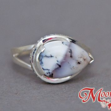 Dendritic Opal Teardrop Unique Sterling Silver Ring US 9 SS-054